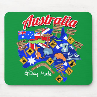 Australian animals and locations mouse pad