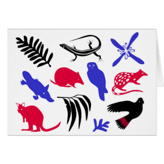 Australian animals greeting card blue/red