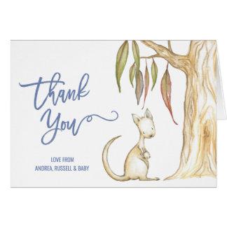 Australian Animals Kangaroo Baby Shower Thank You Card