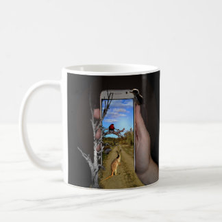 Australian Animals Mobile Phone Illusion Art, Coffee Mug