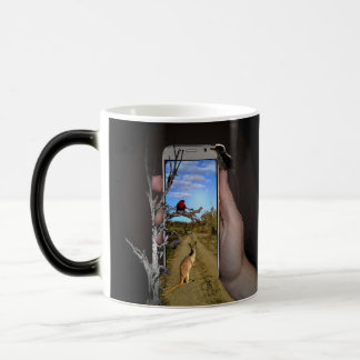 Australian Animals Mobile Phone Illusion Art, Magic Mug