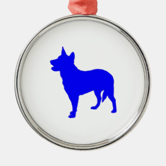 Australian Blue Heeler Silver-Colored Round Ornament