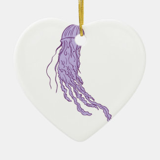 Australian Box Jellyfish Drawing Ceramic Heart Ornament
