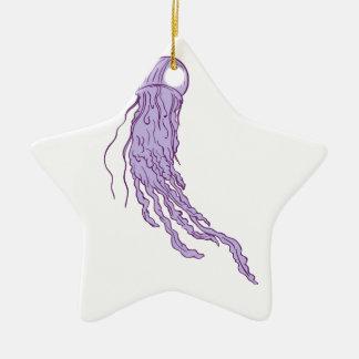 Australian Box Jellyfish Drawing Ceramic Star Ornament