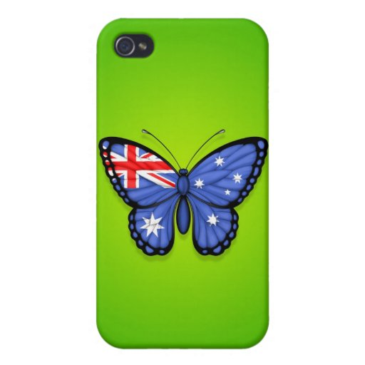 Australian Butterfly Flag on Green Case For iPhone 4