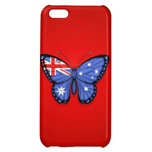 Australian Butterfly Flag on Red iPhone 5C Covers