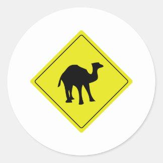 australian camel roadsign yellow classic round sticker
