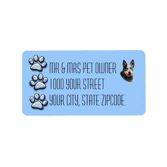 Australian Cattle Dog 3 Blue Pawprints Label