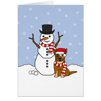 Australian Cattle Dog and Snowman Card