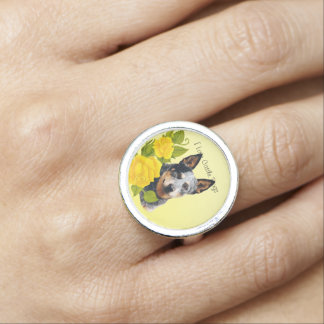 Australian Cattle Dog and Yellow Roses Ring