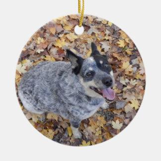 AUSTRALIAN CATTLE DOG BLUE HEELER CHRISTMAS ORNAME CERAMIC ORNAMENT