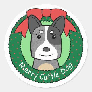 Australian Cattle Dog Christmas Classic Round Sticker
