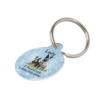 Australian Cattle Dog on Blue Crystal Pet Tag