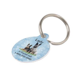 Australian Cattle Dog on Blue Crystal Pet Tag