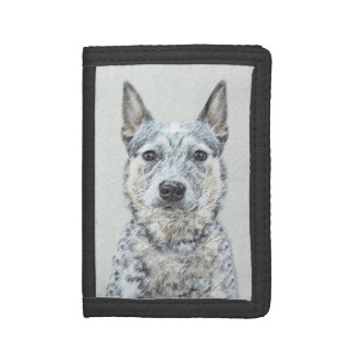 Australian Cattle Dog Painting - Cute Original Art Tri-fold Wallet