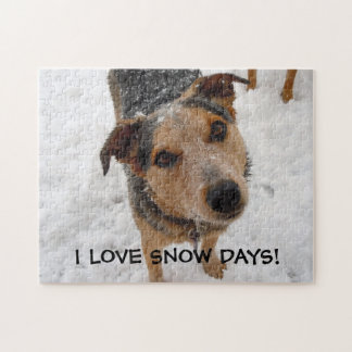 Australian Cattle Dog Puppy Loves Snow Days Jigsaw Puzzle