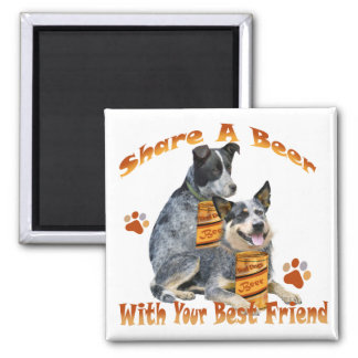 Australian Cattle Dog Share A Beer Square Magnet