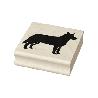 Australian Cattle Dog Silhouette Rubber Stamp
