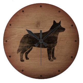 Australian Cattle Dog Silhouette Rustic Large Clock