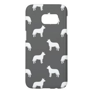 Australian Cattle Dog Silhouettes Pattern Grey Samsung Galaxy S7 Case