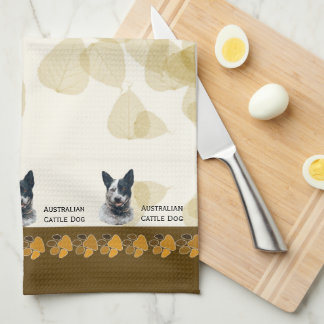 Australian Cattle Dog Tan Leaves Dishtowel Kitchen Towel