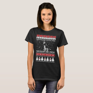 Australian Cattle Dog Through The Snow T-shirt