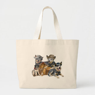 Australian Cattle Dog Western Portrait Large Tote Bag