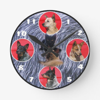 Australian Cattle Dogs and Cats Clock