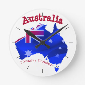 Australian continent with flag round clock