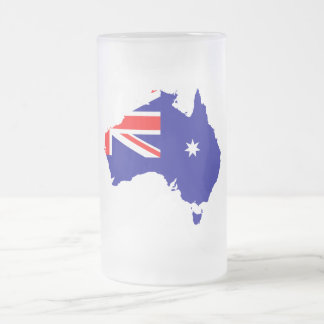 Australian country flag frosted glass beer mug