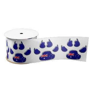 Australian dog paw print satin ribbon
