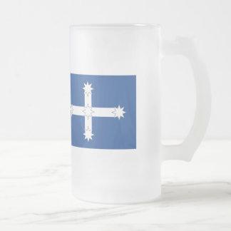 Australian Eureka Flag Frosted Glass Beer Mug