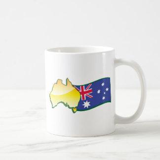 Australian flag and map aussie coffee mug