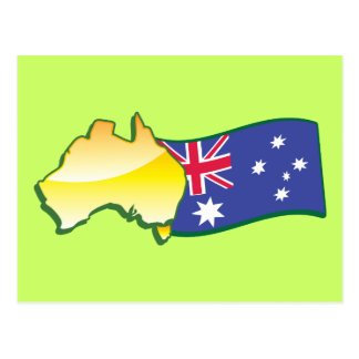 Australian flag and map aussie postcard