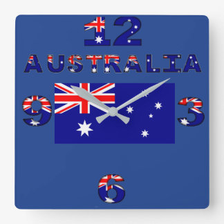 Australian Flag and numbers Square Wall Clock