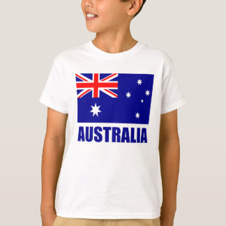 Australian Flag Blue Text T-Shirt