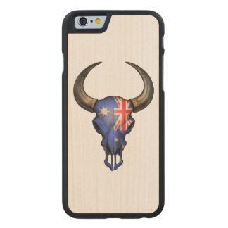 Australian Flag Bull Skull Carved® Maple iPhone 6 Case