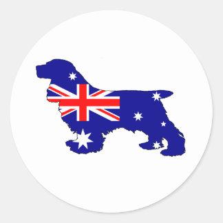 Australian Flag - Cocker Spaniel Classic Round Sticker