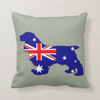 Australian Flag - Cocker Spaniel Throw Pillow
