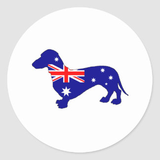 Australian Flag - Dachshund Classic Round Sticker