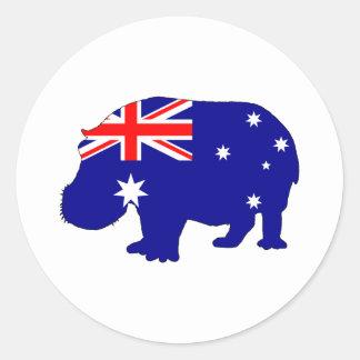 Australian Flag - Hippopotamus Round Sticker