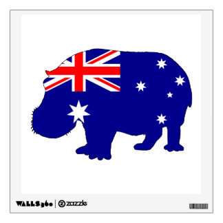 Australian Flag - Hippopotamus Wall Sticker