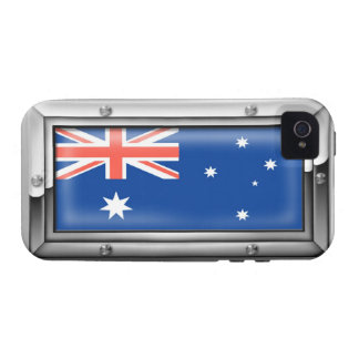 Australian Flag in a Steel Frame Case-Mate iPhone 4 Covers