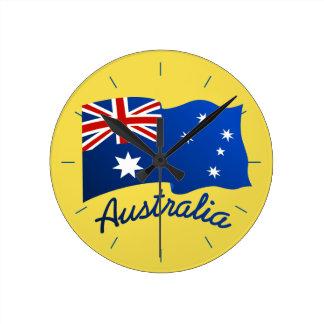 Australian flag in the wind round clock