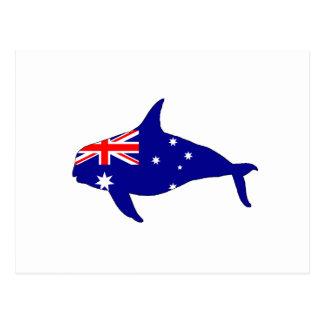 Australian Flag - Killer Whale Grampus Orca Postcard