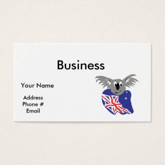 australian flag koala bear design business card