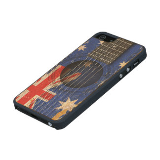 Australian Flag on Old Acoustic Guitar Carved® Maple iPhone 5 Case