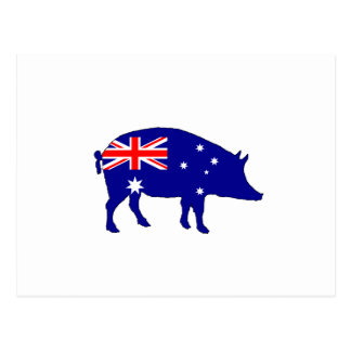Australian Flag - Pig Postcard