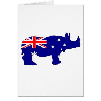 Australian Flag - Rhinoceros Card