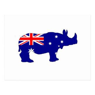 Australian Flag - Rhinoceros Postcard